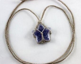 Star Filled With Amethyst Hemp Wrapped Healing Crystal Necklace