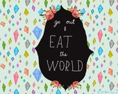 Go Out & Eat the World quote card cc110