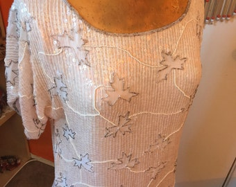 Sequin Shirt // Pastel Pink // Slouchy Top // Glam Rock // Art Deco Clothing // Flapper // XS SMALL