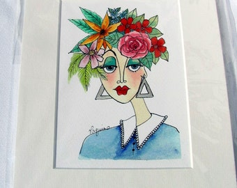 "Watercolor/Pen & Ink Giclee Print ""Summer"" Matted Archival Whimsical Impressionistic Style Lady's Face and Summer Flowers on Etsy"