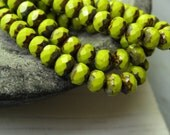 Czech glass beads, faceted rondelle,  opaque light avocado green with picasso edges 5mm x 7mm / 25 beads  6aZ305