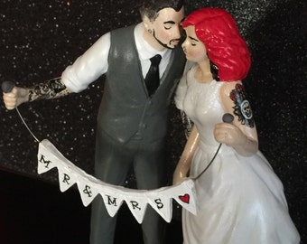 Tattooed Wedding Cake Topper . Bride and Groom Tattoos . Custom Painted and Personalized to Resemble You