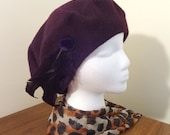 Vintage Wool Beret with Feather Trim
