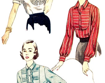 1950s Blouse Pattern Vintage Simplicity Tucked Yoke Shirt Top Sewing Women's Misses Size 16 Bust 34 Inches