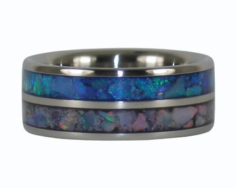 Blue and Red Opal Titanium Ring