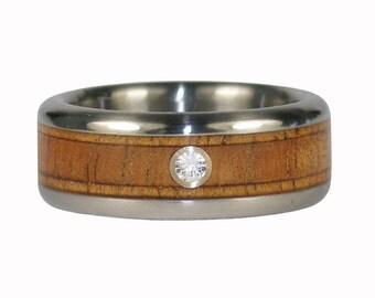 Diamond Titanium Koa Wood Wedding Band