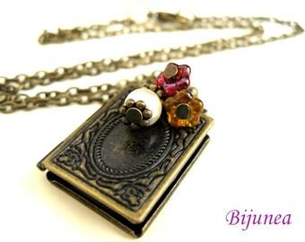 Book locket necklace - Locket necklace - Teacher book locket necklace n171