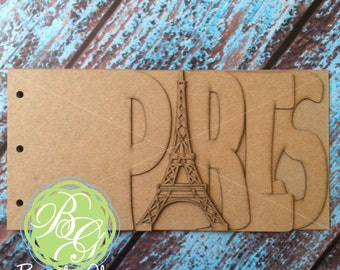 PARIS Scrapbook chipboard album BLANK for memories, gift, photo album, keepsake album, vacation album 6pg