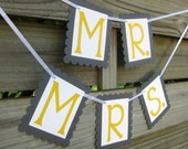 Grey and Yellow Mr. and Mrs. Banners - Wedding Photo Props - Gray and Yellow Wedding Chair Signs