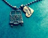 Vintage Volkswagen style camper charm necklace