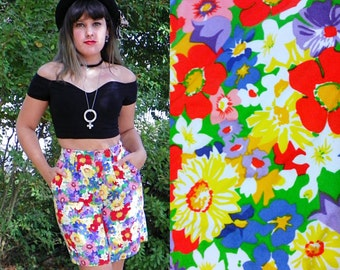 1980s Vintage High Waisted Floral Shorts Bright Floral Pop Art Bermuda Shorts with Belt Loops Size Extra Small