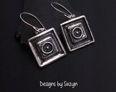 Artisan handmade square silver earrings, steampunk, dangles, small earrings, oxidized