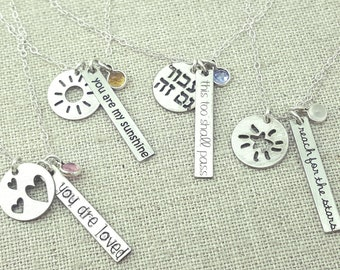 Inspirational Necklace - Personalized Graduation - Reach for the Stars - Stone Jewelry - Silver Cluster Necklace - Personalized Necklace