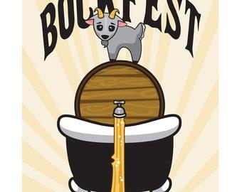 Bockfest Goat - 8x10 Art Print by Geri Shields - beer, goat, bar