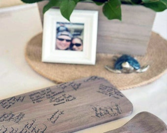 """46"""" Personalized Natural Driftwood Gray/Brown Paddles (2) for Nautical Wedding Guest Book Alternative / Bride & Groom Names / Wedding Date"""