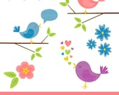 Cute digital clipart - bird, branch, tree, flower, spring, easter, baby - High Quality PNG and JPEG 300dpi - instant download