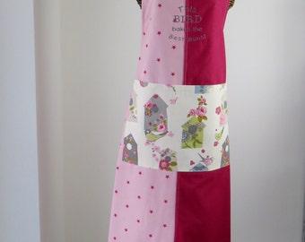 Baking apron-Ladies apron-birdhouse apron-embroidered-star print panel apron OOAK-womans apron