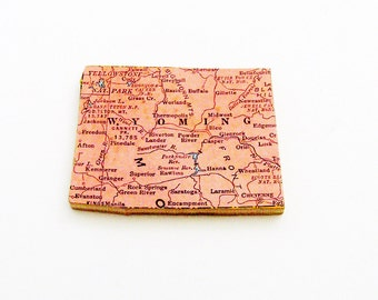 1940s Wyoming Brooch - Pin / Unique Wearable History Gift Idea / Upcycled Vintage Wood Jewelry / Timeless Gift Under 25
