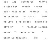 stamp clear photopolymer mindfulness words motivational inspiration self-esteem set A6 size