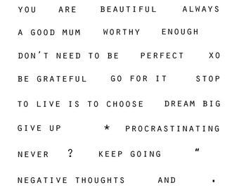 stamp clear photopolymer mindfulness words motivational inspiration self-esteem set A6 size