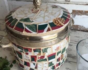 Ice Bucket - Silver and Mosaic - Magnolia Pattern - Broken China