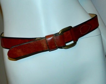 vintage 1970s cognac brown leather SHEPLERS Western cinch belt brass 26 28 30 inch
