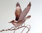 Flying Rocker - Copper Rocking Bird Kinetic Sculpture by Sparkflight