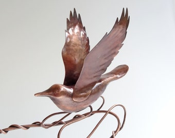 Rocking Copper Bird Kinetic Sculpture by Sparkflight