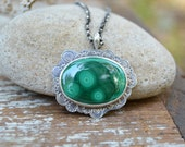 Green Malachite Necklace. Wavy Scallop Bubble Eyes. Psychedelic Stone Stamped Sterling Silver Necklace. Asymmetric One of a Kind Jewelry.