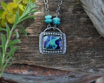 Lightening Strike. Azurite Malachite Necklace. Vibrant Blue Green Gemstone Necklace. Southwestern Pendant Necklace. Artisan Jewelry.