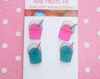 Scrummy Yummy Junk Food Earrings Ear Studs Super Slushy Slush Puppy Pink and Blue 2 Pairs