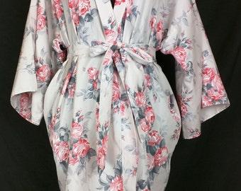 Vintage Pink Roses Print Robe Belt M