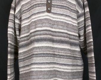 Vintage Lands End Brown Striped Wool Sweater Mens XL