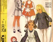 1970s McCall's 2530 Vintage Sewing Pattern Girl's Raggedy Ann Dress and Jumper Size 6