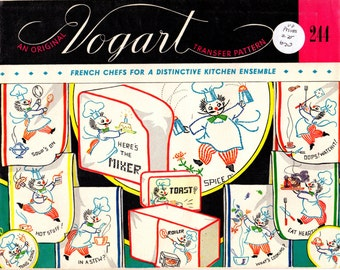 1950s Vogart 244 UNCUT Vintage Embroidery Transfer French Chefs Kitchen Linens