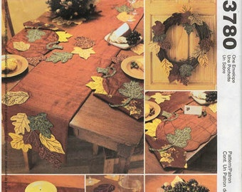 2000s McCall's 3780 UNCUT Craft Sewing Pattern Harvest Decorations, Autumn Placemats, Table Runner, Wreath, Pumpkin, Leaves