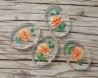Vintage Glass Intaglio Cabochons - 18x25 mm Yellow Rose Reverse Painted Shabby Chic (4 pc)
