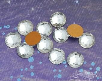 Vintage Cabochons - 18 mm Facet Crystal -  4 West German Faceted Glass Stones