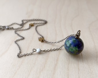 Earth & Moon Necklace | Gemstone Space Planet Necklace | Unique Science Pendant Necklace | Earth Necklace