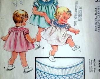 Vintage 50's McCall's 2075 Sewing Pattern, Toddlers' Smocked Dress, Size 6 Months, 1950's Sewing Pattern