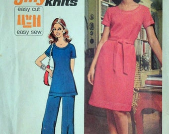 Vintage 70's Simplicity 5556 Sewing Pattern, Misses' Jiffy Knit Dress or Tunic & Pants, Retro 1970's Fashion, Size 10, 32 1/2 Bust, Uncut FF