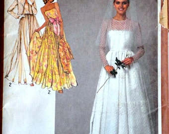 Vintage 80;s Sewing pattern, Simplicity 9364, Misses' Bridal or Bridesmaid Dress and Unlined Jacket, Sizes 6-8, Bust 30.5-31.5, Uncut FF