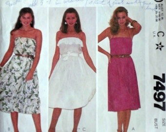Vintage 80's McCall's 7487 Sewing Pattern, Misses' Strapless Sundress, Size 10. 32 1/2 Bust, Make it Tonight Pattern, Summer Dress