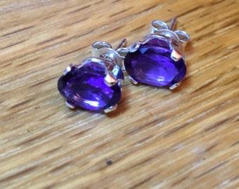 African Amethyst Sterling Silver Stud Earrings