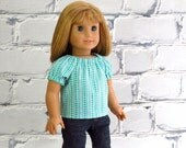 Doll Peasant Top in Turquoise Dots, 18 inch Doll Clothes, Handmade to fit American Girl doll