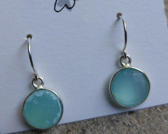 Bezelled Green Chalcedony Gemstone on Gold Filled Earwires