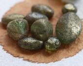 METALLIC MOSSY STONES .. 10 Picasso Czech Glass Beads (3424-10)