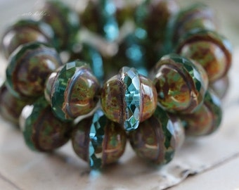 AQUA BLISS No. 1 .. 10 Picasso Czech Glass Saturn Beads 10x12mm (5119-10)