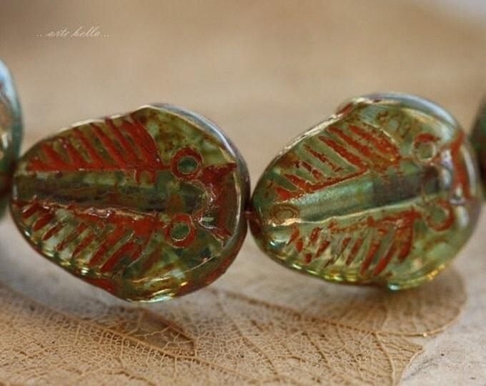 sale .. TRILOBITE .. 6  Picasso Czech Glass Trilobite Beads 12x16mm (4354-6)