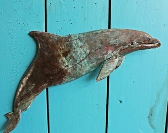 Bottlenose Dolphin - copper marine mammal sculpture  - with blue-green and naturally-aged patinas - OOAK